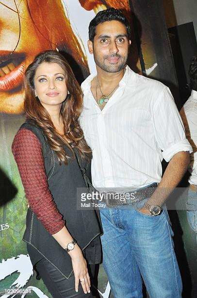 Abhishek Bachchan and Aishwarya Rai Bachchan at a promotional event for the film Raavan in Mumbai on June 12 2010
