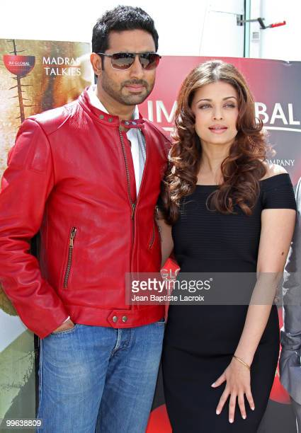 Abhishek Bachchan and Aishwarya Rai Bachchan attend the 'Raavan' Photocall at the Salon Diane at The Majestic during the 63rd Annual Cannes Film...