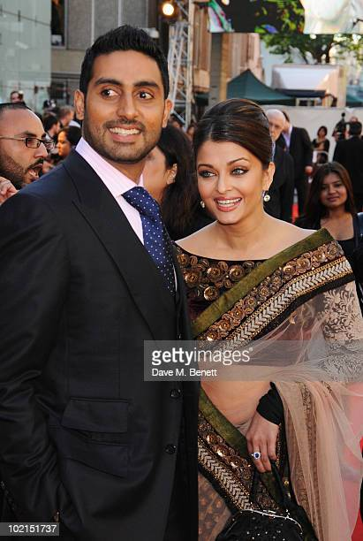 Abhishek Bachchan and Aishwarya Rai Bachchan attend the World film premiere of 'Raavan' at the BFI Southbank on June 16 2010 in London England