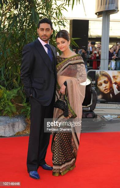 Abhishek Bachchan and Aishwarya Rai Bachchan attend the World Premiere of Raavan at BFI Southbank on June 16 2010 in London England