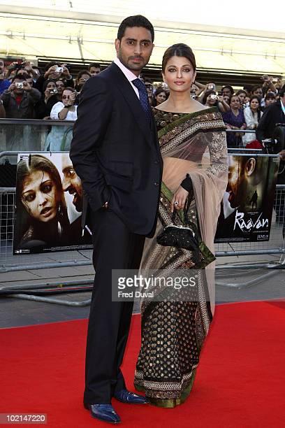 Abhishek Bachchan and Aishwarya Rai Bachchan attend the World Premiere of Raavan at BFI Southbank on June 16 2010 in London England