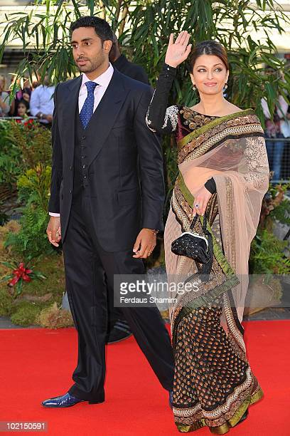 Abhishek Bachchan and Aishwarya Rai Bachchan attend the World Premiere of 'Raavan' at BFI Southbank on June 16 2010 in London England