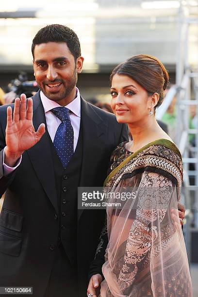 Abhishek Bachchan and Aishwarya Rai Bachchan attend the World Premiere of 'Raavan' at BFI Southbank on June 16 2010 in London England