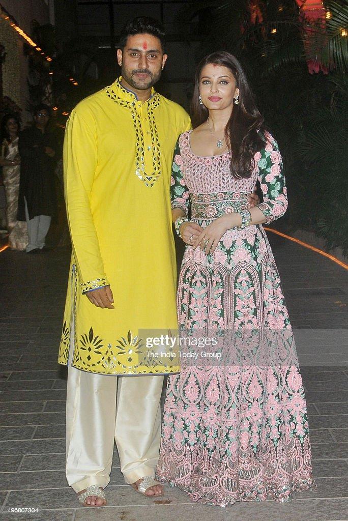 Abhishek Bachchan and Aishwarya Rai Bachchan Celebrating Diwali in Mumbai