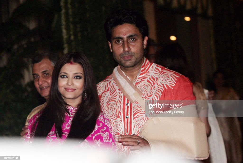 Abhishek Bachchan and Aishwarya Rai Bachchan during their diwali bash in Mumbai
