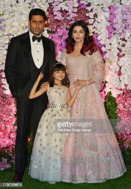 Abhishek Bachchan and Aishwarya Rai Bachchan pose for a photograph at Akash Ambani Shloka Mehta wedding party in Mumbai