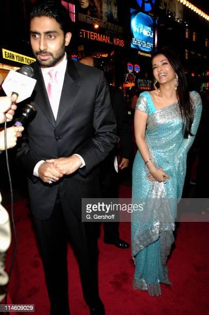Abhishek Bachchan and Aishwarya Rai during 'Guru' New York City Premiere Red Carpet at AMC Empire Theater in New York City New York United States