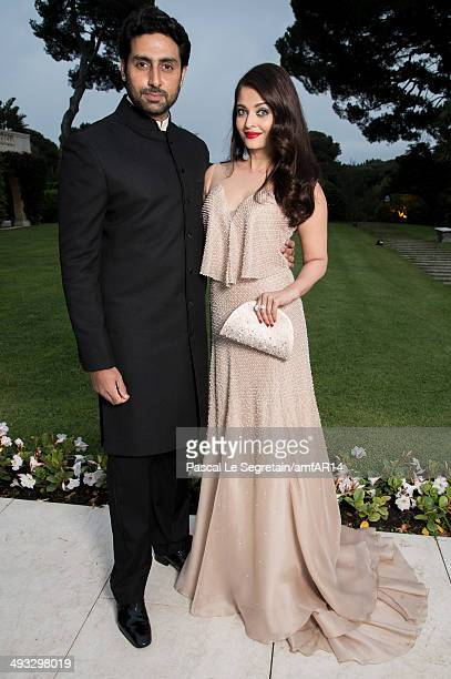 Abhishek Bachchan and Aishwarya Rai pose for a portrait at amfAR's 21st Cinema Against AIDS Gala Presented By WORLDVIEW BOLD FILMS And BVLGARI at...