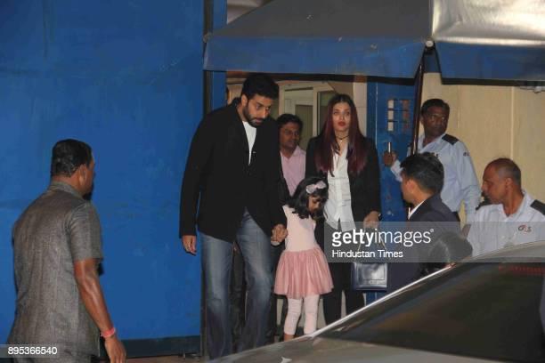 Abhishek Bachchan and Aishwarya Rai with their daughter Aaradhya At Dhirubhai Ambani International School's annual function on December 16 2017 in...