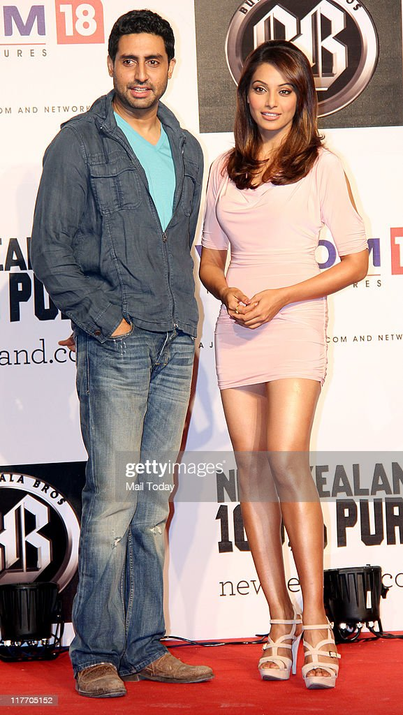 Abhishek Bachchan and Bipasha Basu during the `100% Pure You` campaign on the sets of their film `Players` at Filmcity Mumbai on June 29 2011