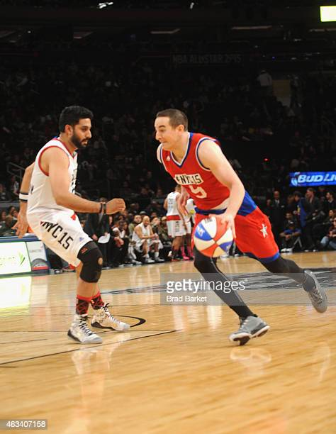 Abhishek Bachchan and Robert Pera attend the NBA AllStar Celebrity Game NBA All Star Weekend 2015 on February 13 2015 in New York City