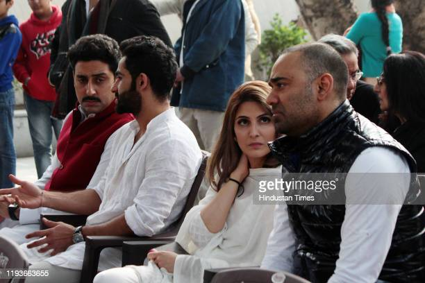 Abhishek Bachchan Armaan Jain Riddhima Kapoor Sahni at the funeral of Ritu Nanda at Lodhi Road Crematorium on January 14 2020 in New Delhi India Ritu...