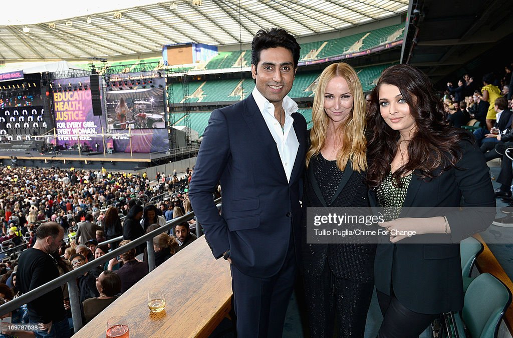 Abhishek Bachchan, Creative Director of Gucci Frida Giannini and Aishwarya Rai Bachchan pose inside the Royal Box at the 'Chime For Change: The Sound Of Change Live' Concert at Twickenham Stadium on June 1, 2013 in London, England. Chime For Change is a global campaign for girls' and women's empowerment founded by Gucci with a founding committee comprised of Gucci Creative Director Frida Giannini, Salma Hayek Pinault and Beyonce Knowles-Carter.
