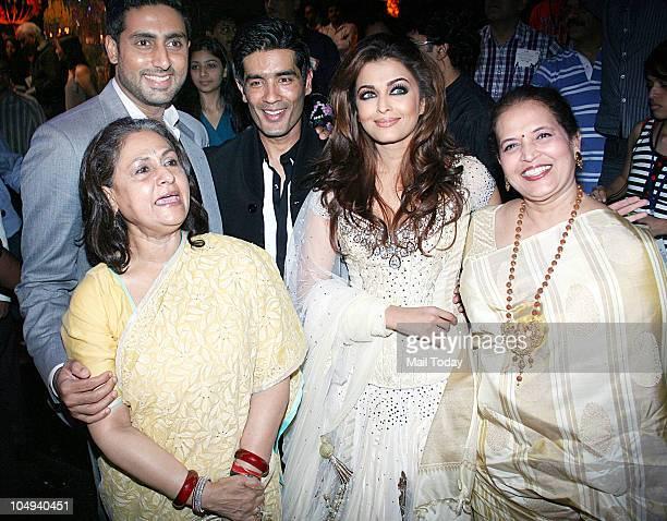 Abhishek Bachchan Jaya BachchanManish Malhotra Aishwarya Rai Bachchan and Vrinda Rai at Day I of the HDIL Couture fashion week in Mumbai on October 6...