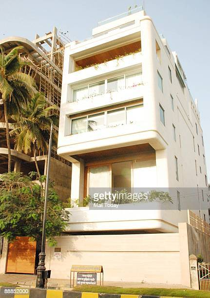 Abhishek Bachchan's brand new bungalow 'Naivedya' is seen in Bandra Mumbai on Sunday July 5 2009