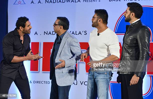 Abhishek BachchanSunil ShettyParesh Rawal and John Abraham at the announcement ceremony of Hera Pheri 3