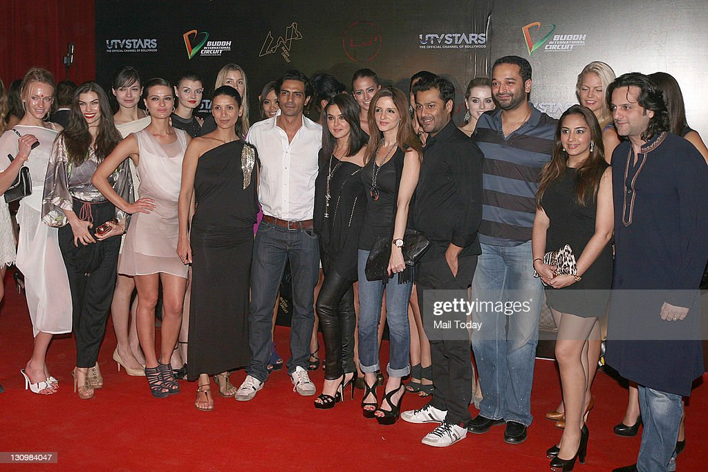Abhishek Kapoor Suzanne Roshan Arjun Rampal Preity Zinta Fardeen Khan and Mehr Rampal at the second day of F1 afterparty at LAP Buddh International...