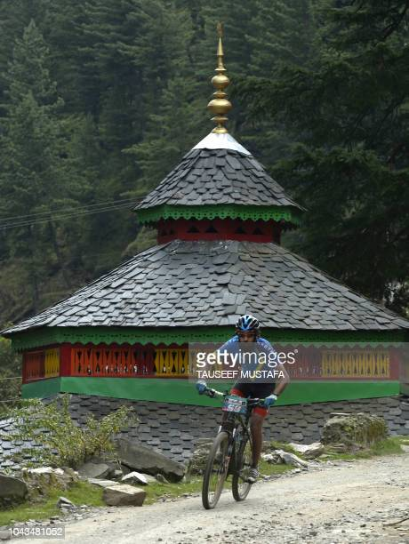 Abhishek Nego of India competes in the 14th edition of the Hero MTB Himalaya mountain bike race in the northern Indian state of Himachal Pradesh on...