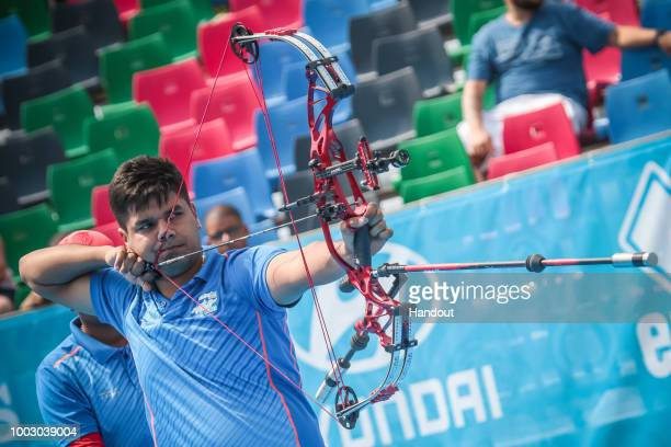 Abhishek Verma of India during the compound mixed team finals during the Hyundai Archery World Cup 2018 on July 21 2018 in Berlin Germany