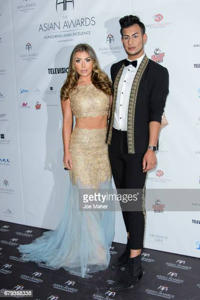 Abi Clarke and Junaid Ahmed attend The Asian Awards at Hilton Park Lane on May 5 2017 in London England