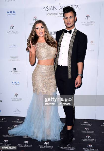 Abi Clarke and Junaid Ahmed attending the 7th annual Asian Awards at the Hilton Hotel Park Lane London