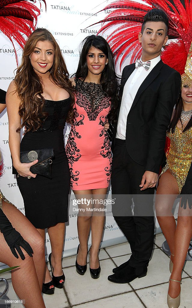 Abi Clarke, Jasmin Walia and friend attend the anniversary party of Tatiana hair extensions on April 18, 2013 in London, England.