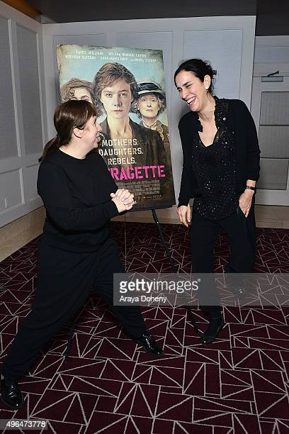 Abi Morgan and Sarah Gavron attend the Film Independent hosts QA and reception for Suffragette at The London Hotel on November 9 2015 in West...
