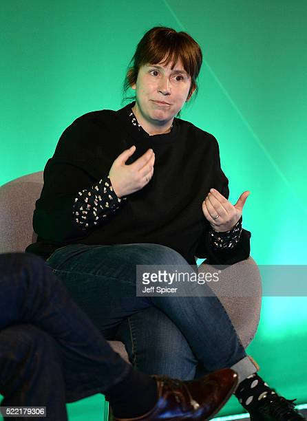 Abi Morgan Playwright Screenwriter speaks during The Art of Storytelling discussion at Advertising Week Europe 2016 at Picturehouse Central on April...