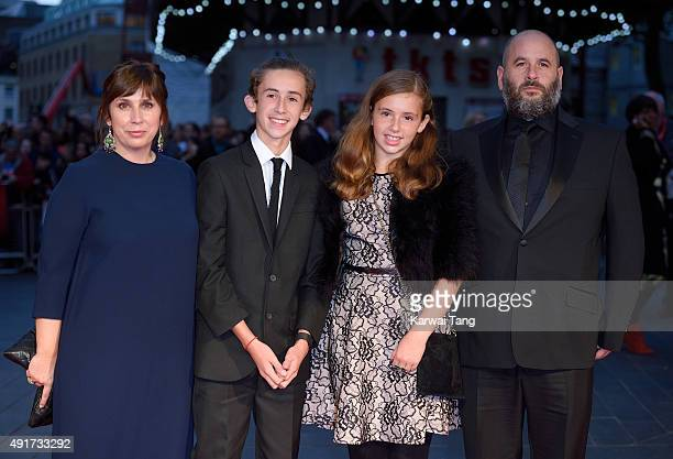 Abi Morgan with husband Jacob Krichefsk and family attend a screening of 'Suffragette' on the opening night of the BFI London Film Festival at Odeon...