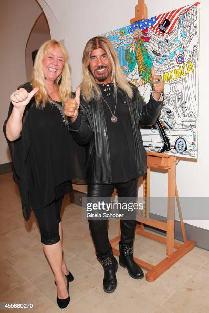 Abi Ofarim and his girlfriend Kirsten Schmidt attend the Exhibition Opening of Mauro Bergonzoli at Bayerisches Nationalmuseum on September 18 2014 in...