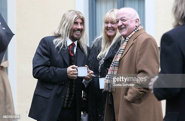Abi Ofarim and his partner Kerstin Schmidt attend the wedding of Gil Ofarim and Verena Brock on December 15 2014 in Ismaning Munich Germany
