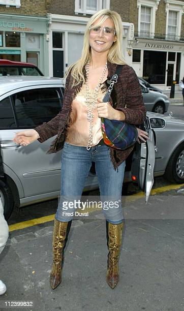 Abi Titmus during London Fashion Week Spring 2005 Scott Henshall Arrivals at ExSaatchi Gallery in London Great Britain