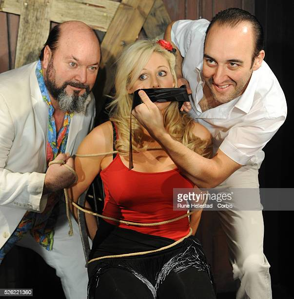 Abi Titmuss Alex Barclay and Sion Tudor Owen attend a photocall for her new play 'Stage Fright' at the Canal Cafe Theatre