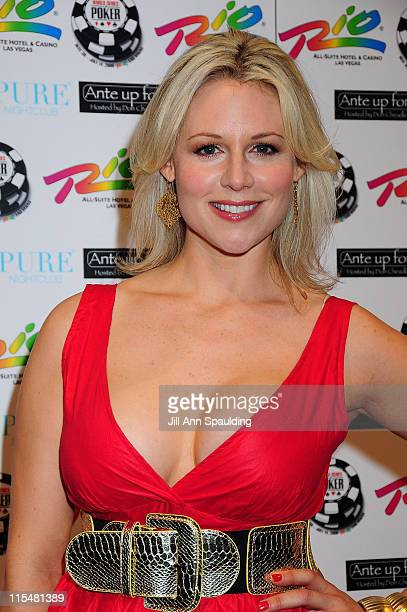 Abi Titmuss arrives at 2nd Annual AUFA Celebrity Poker Tournament at the Rio Hotel Casino on July 2 2008 in Las Vegas Nevada