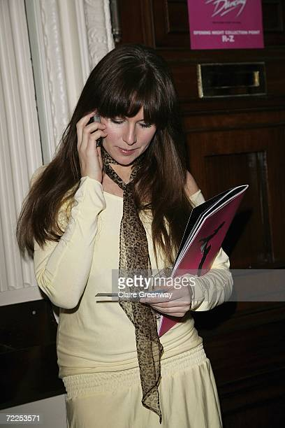 Abi Titmuss speaks on her mobile phone prior to the London premiere of Dirty Dancing The Classic Story On Stage at Aldwych Theatre on October 24 2006...