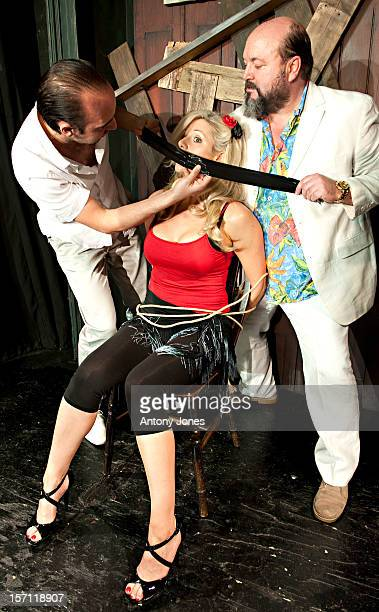 Abi Titmuss With Alex Barclay And Sion Tudor Owen Photocall To Promote Her Role As Geraldine In The Production Of Stage Fright At The Canal Cafe...