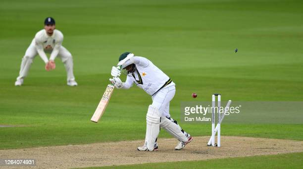 Abid Ali of Pakistan is bowled by Jofra Archer of England during Day One of the 1st #RaiseTheBat Test Match between England and Pakistan at Emirates...