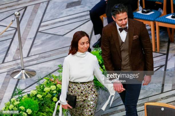 Abid Q Raja with his wife Nadia Ansar attend the Nobel Peace Prize ceremony at Oslo City Town Hall on December 10 2017 in Oslo Norway