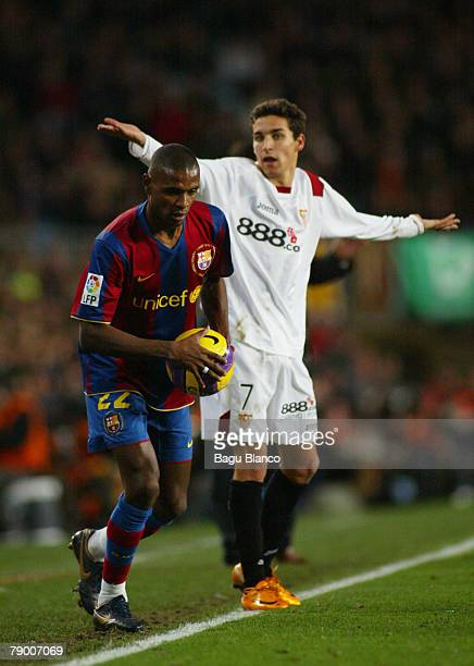 Abidal of Barcelona and Jesus Navas of Sevilla during the Copa del Rey match between FC Barcelona and Sevilla played at the Camp Nou stadium on...