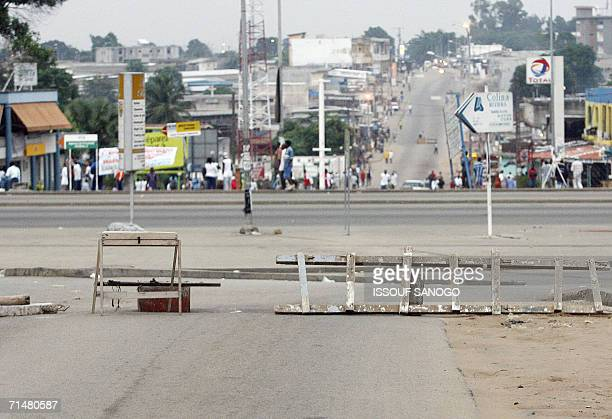 A barricade erected by supporters of Ivorian President Laurent Gbagbo to protest against the identification campaign is pictured in Abidjan 19 July...