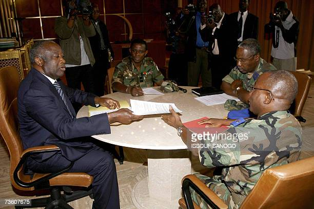 Ivory Coast's President Laurent Gbagbo talks 16 March 2007 at the Presidential palace in Abidjan during a meeting with army Chiefs of Staff loyalist...