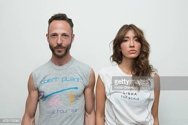 Abie Toiber and actress/singer Fernanda Romero of The White Cherries attend a press conference and photocall at Grabaciones Jamaica on April 17 2015...