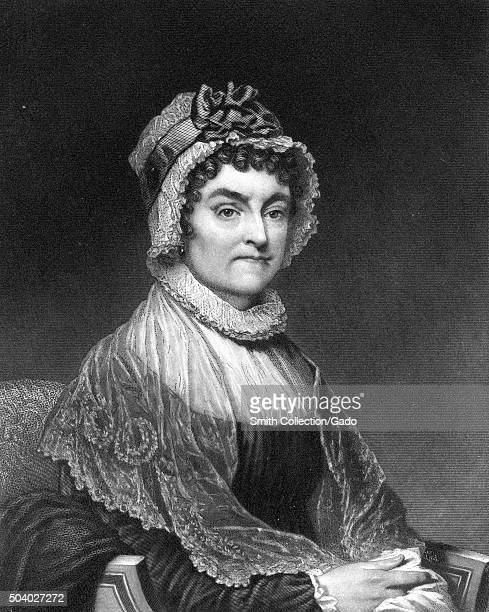 Abigail Adams seated portrait steel plate engraving of First Lady and wife of United States President John Adams with a severe facial expression...