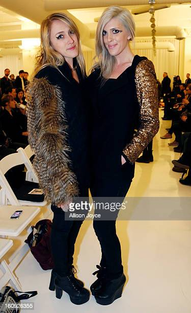 Abigail Breslin and Emily Bache from the WanderLust Girls attend the Elliott Evan fall 2013 fashion show during MercedesBenz Fashion Week at...