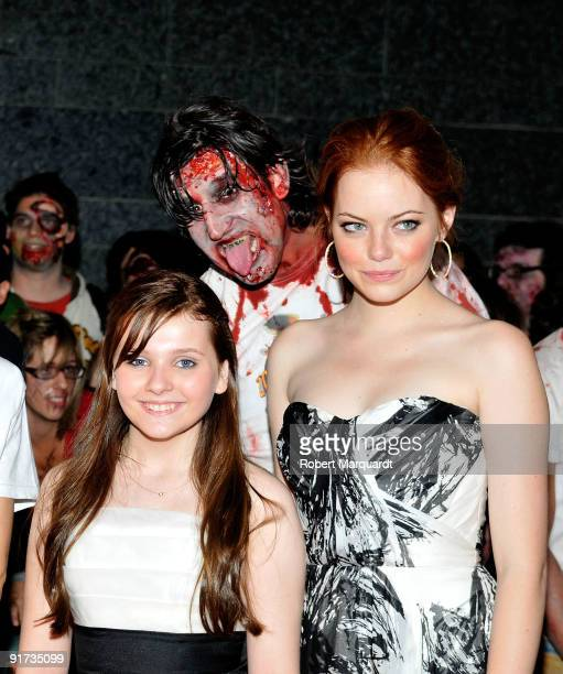 Abigail Breslin and Emma Stone attend the European Premiere for 'Zombieland' at the 42nd Sitges Film Festival on October 10, 2009 in Barcelona, Spain.