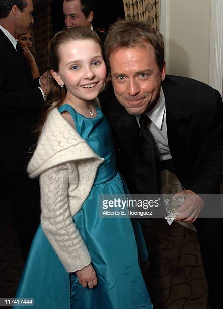Abigail Breslin and Greg Kinnear during Fox Searchlight's 2007 Golden Globe After Party in Los Angeles California United States