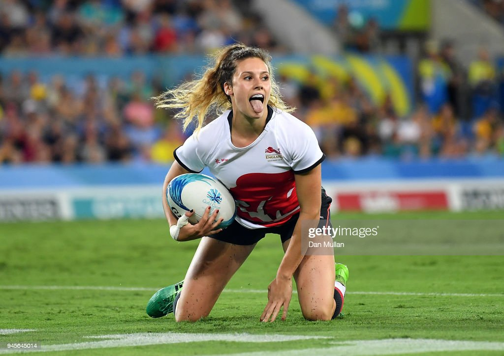 Abigail Brown of England celebrates after scoring a try during the Rugby Sevens Women's Pool B match between Australia and England on day nine of the Gold Coast 2018 Commonwealth Games at Robina Stadium on April 13, 2018 on the Gold Coast, Australia.