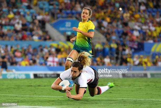 Abigail Brown of England dives over for a try during the Rugby Sevens Women's Pool B match between Australia and England on day nine of the Gold...
