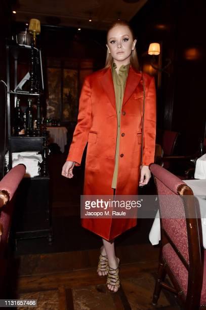 Abigail Cowen attends Salvatore Ferragamo Dinner Party during Milan Fashion Week Autumn/Winter 2019/20 on February 23 2019 in Milan Italy