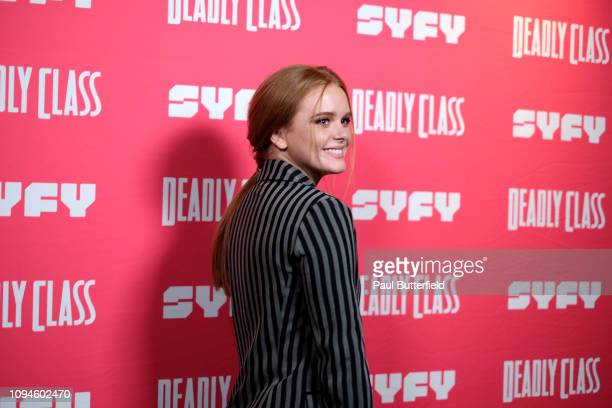 Abigail Cowen attends the premiere week screening of SYFY's Deadly Class hosted by Kevin Smith at The Wilshire Ebell Theatre on January 14 2019 in...